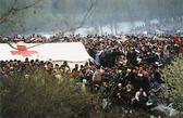 Foto: Massen von Flüchtlingen drängen sich um ein Rotkreuz-Zelt
